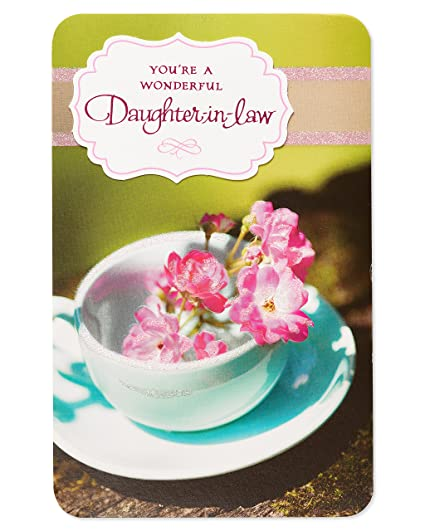 Amazon Teacup Birthday Card For Daughter In Law With Glitter