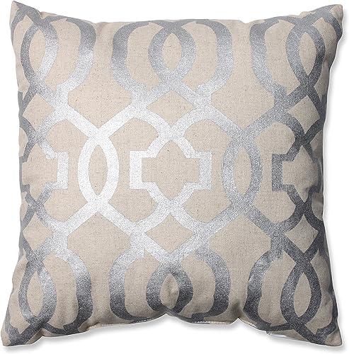 Pillow Perfect Geometric Throw Pillow, 16.5 x 16.5 , Silver Linen