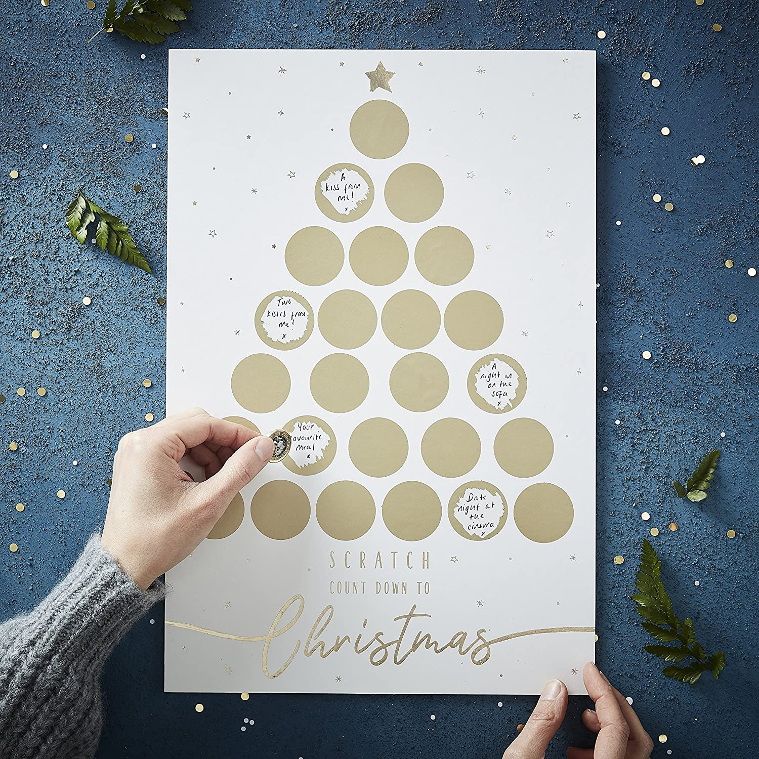 Ginger Ray Gold Scratch To Reveal Personalised Christmas Advent Calendar - Gold Christmas GD-422