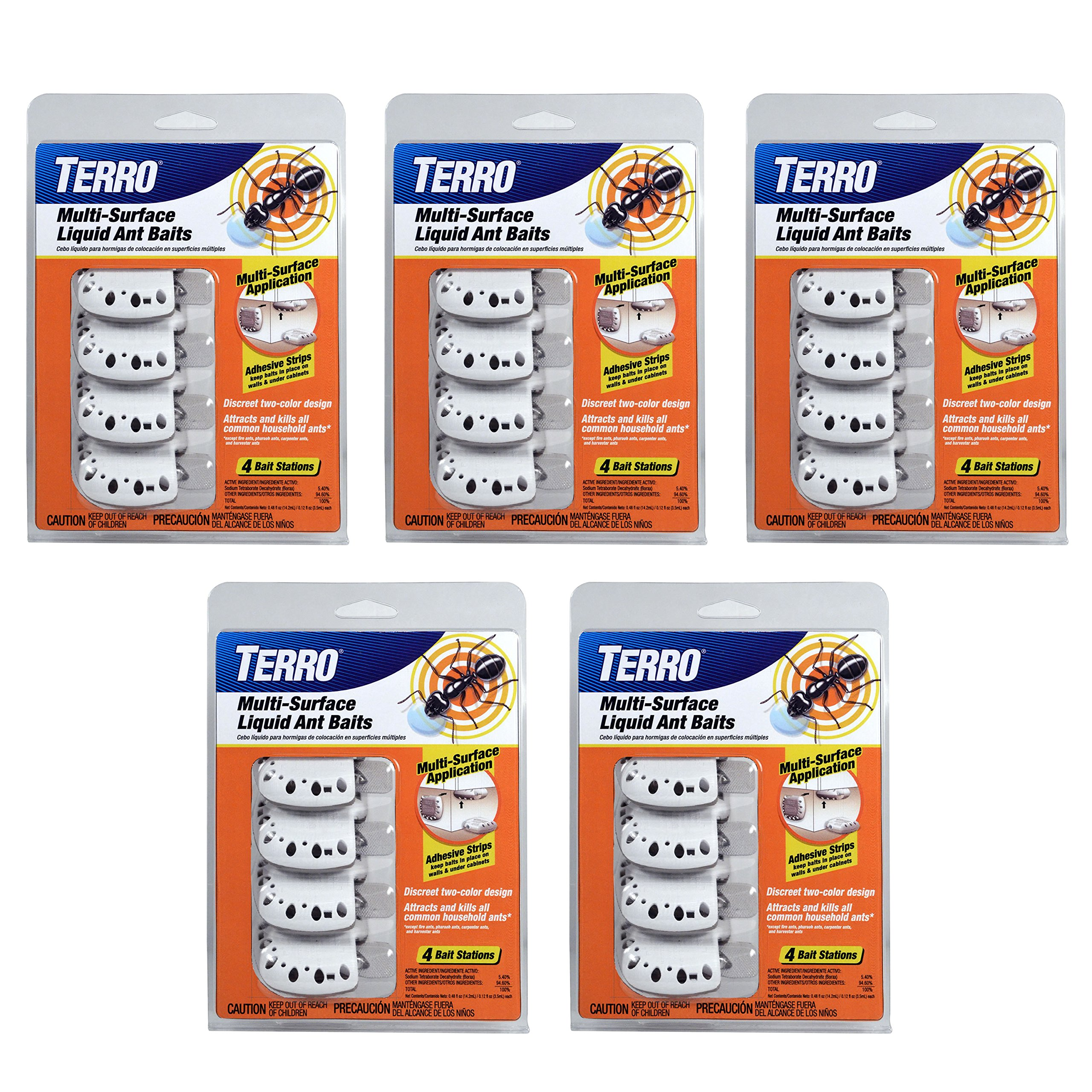 Terro T334 4 5 Pack Multi-Surface Liquid Ant 20 Discreet Bait Stations, White by Terro