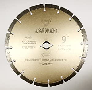 "ALSKAR DIAMOND ADLSS 9 inch Dry or Wet Cutting General Purpose Power Saw Segmented Diamond Blades for Concrete Stone Brick Masonry (9"")"