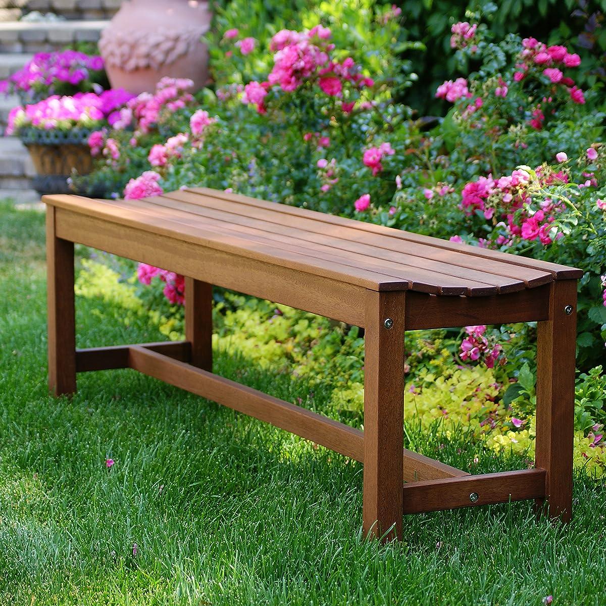 Outdoor Interiors 60404 3 Person Backless Eucalyptus Bench