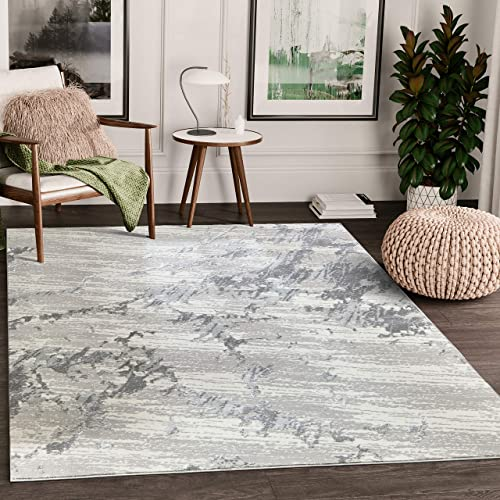 Modern Grey Marble Pattern 7'9″x10'2″ Turkish Area Rug