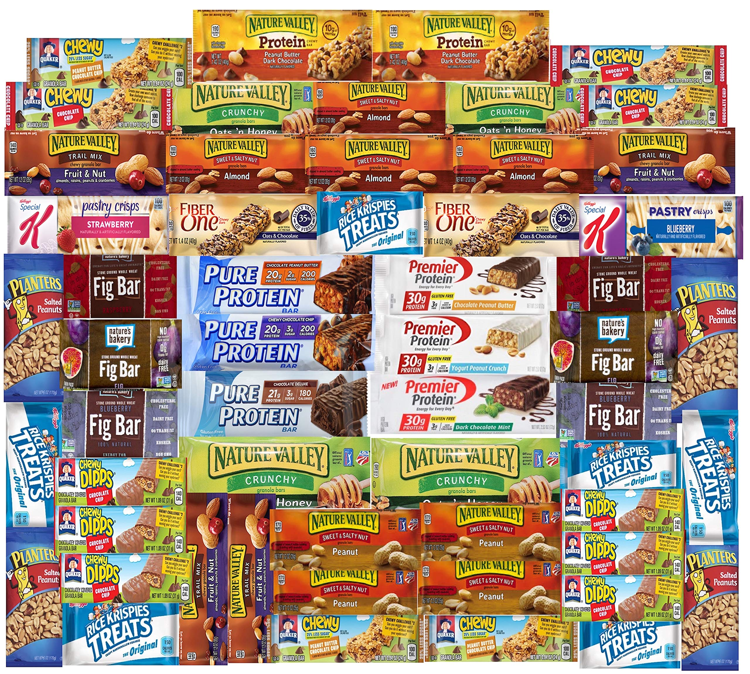 Ultimate Healthy Fitness Box - Protein & Healthy Granola Bars Sampler Snack Box (56 Count) - Care Package - Gift Pack - Variety of Fitness, Energy Bars and Premier Protein Bars. by LA Signature