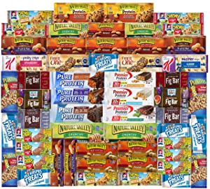 Ultimate Healthy Fitness Box - Protein & Healthy Granola Bars Sampler Snack Box (56 Count) - Care Package - Gift Pack - Variety of Fitness, Energy Bars and Premier Protein Bars