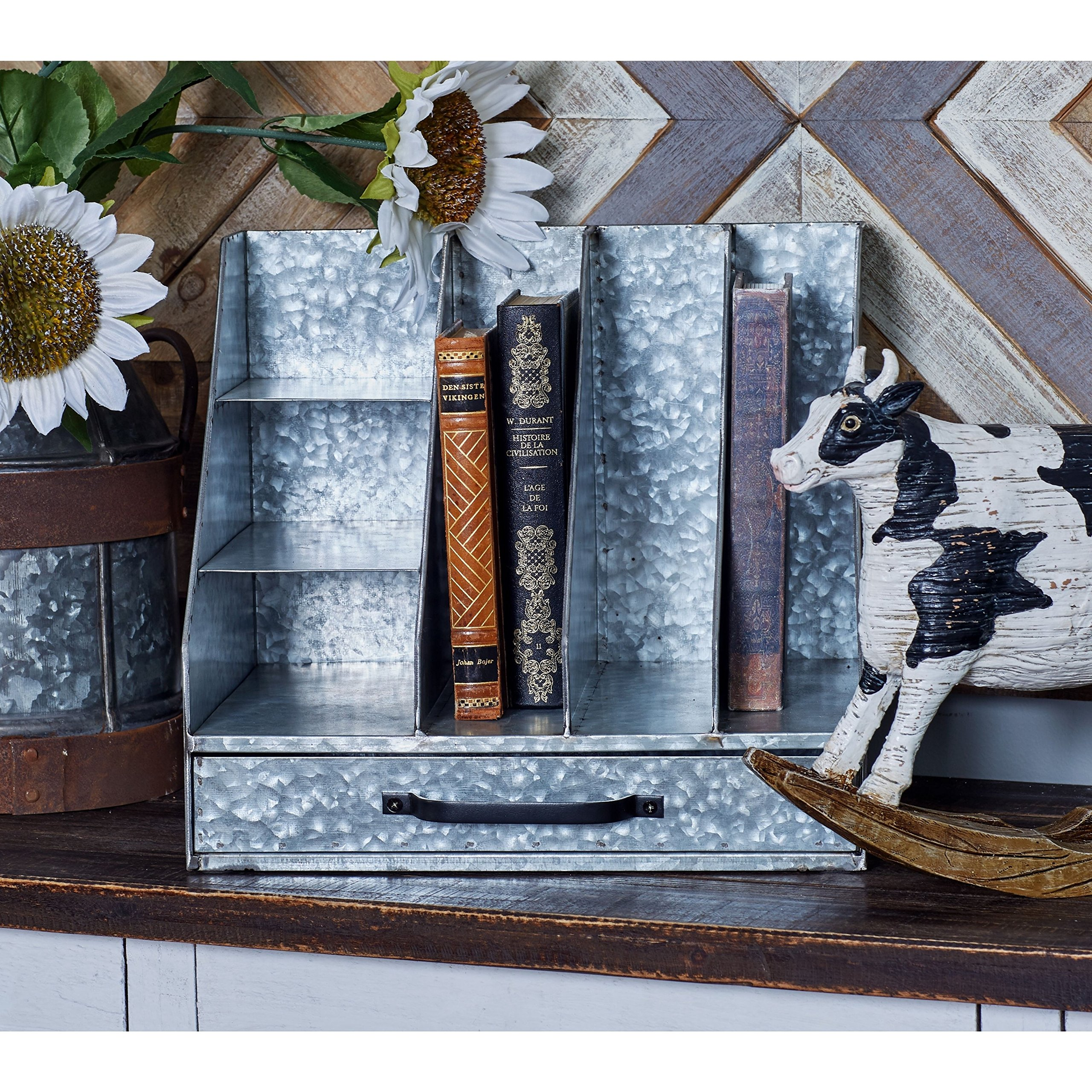 Durable,Stylish and Provides Ample Storage Space Traditional Multi-Compartment Iron Letter Holder,Grey,Conveniently Place This on Desks,Tables, or Shelves,13 x 10 x 12