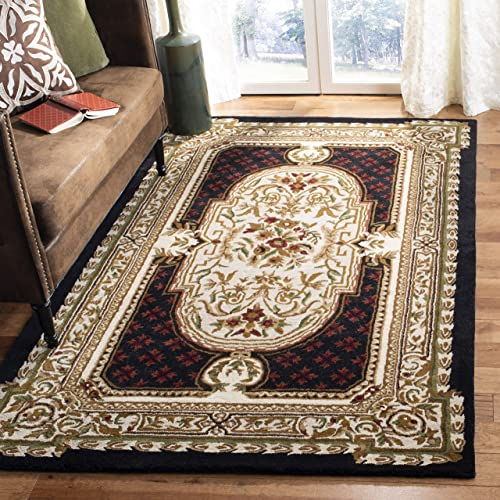 Safavieh Classic Collection CL755B Handmade Traditional Oriental Black Wool Area Rug 9'6″ x 13'6″