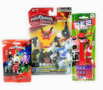 Power Rangers Mixx n Morph Turbo Falcon Rangerzord Plus PEZ Red Ranger Dispenser and Three Candy
