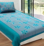 RajasthaniKart 144 TC Cotton Single Bedsheet with 1 Pillow Cover - Abstract, Green