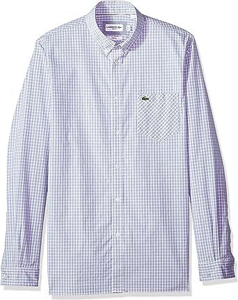 Lacoste Hombre CH4981-51 Manga Larga Camisa de Botones - Naranja - Small/Medium: Amazon.es: Ropa y accesorios