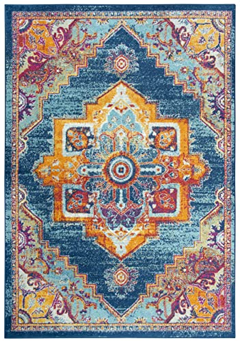 Rizzy Home Rothport Collection Vintage Bohemian Area Rug, 7 10 x 10 5 , Navy Orange Turquoise