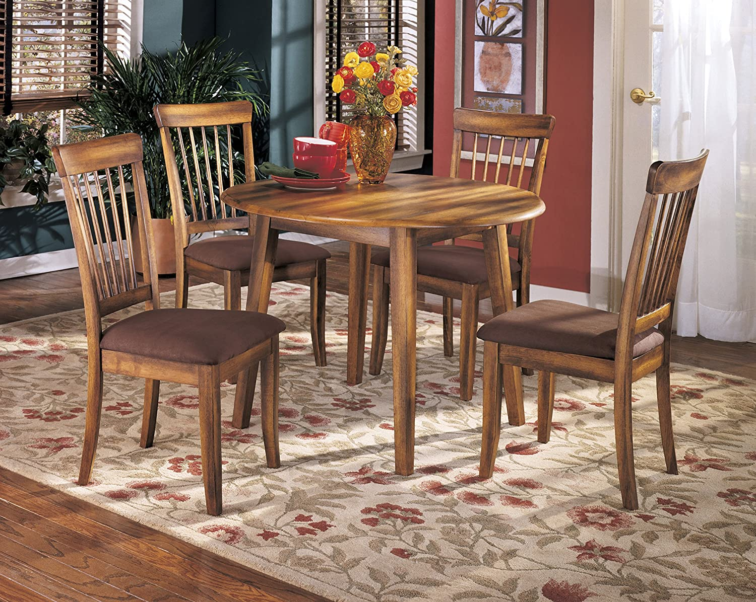 Berring Rustic Brown Dining Room Furniture Set, Round Drop Leaf Table with 4 Dining Upholstered Side Chair