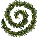 WeRChristmas Pre-Lit Long Garland Illuminated with 52 Warm LED Lights, 12 feet - White