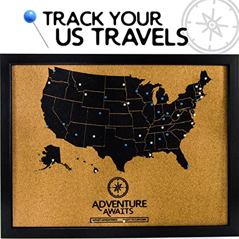 Amazon.com : | Pushpin Corkboard USA Map and Pins | US Travel ...
