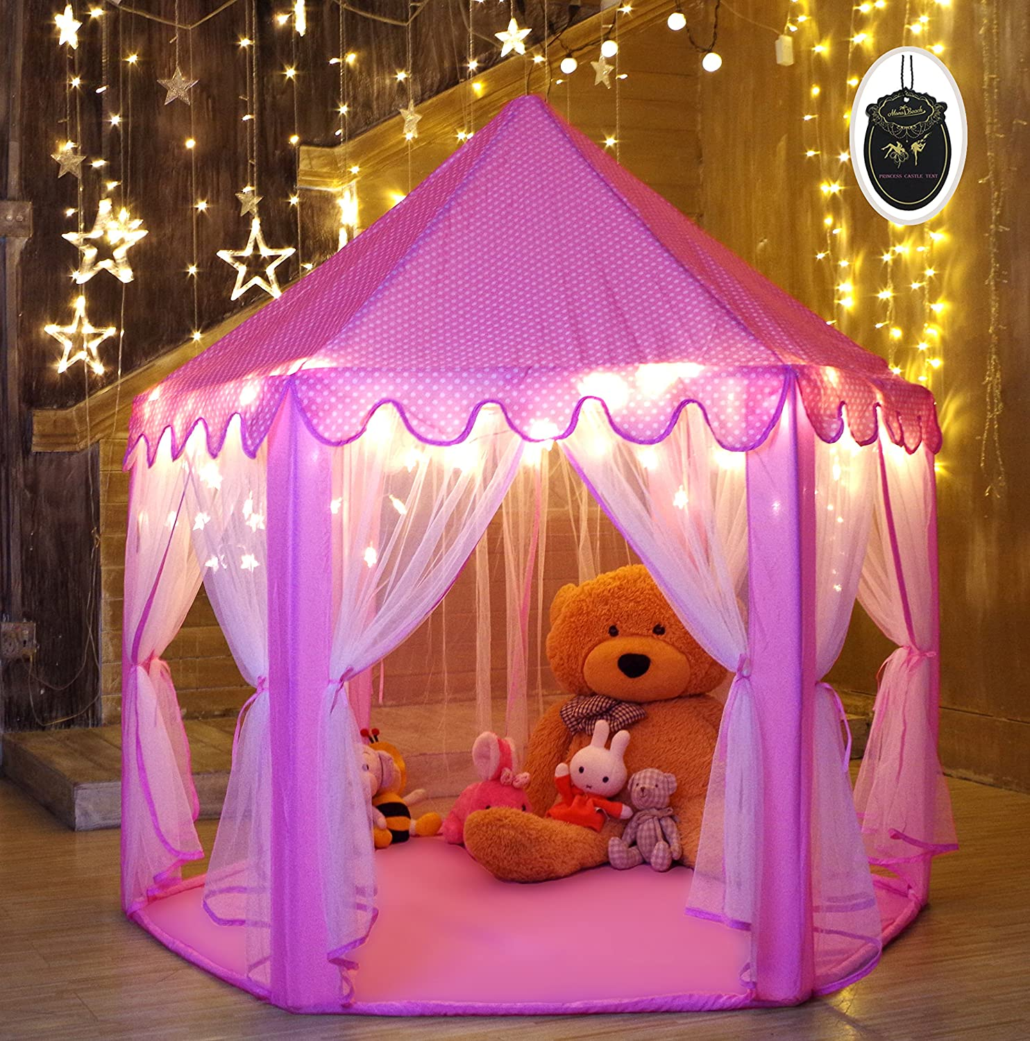Princess Tent Play Castle with LED Star Lights