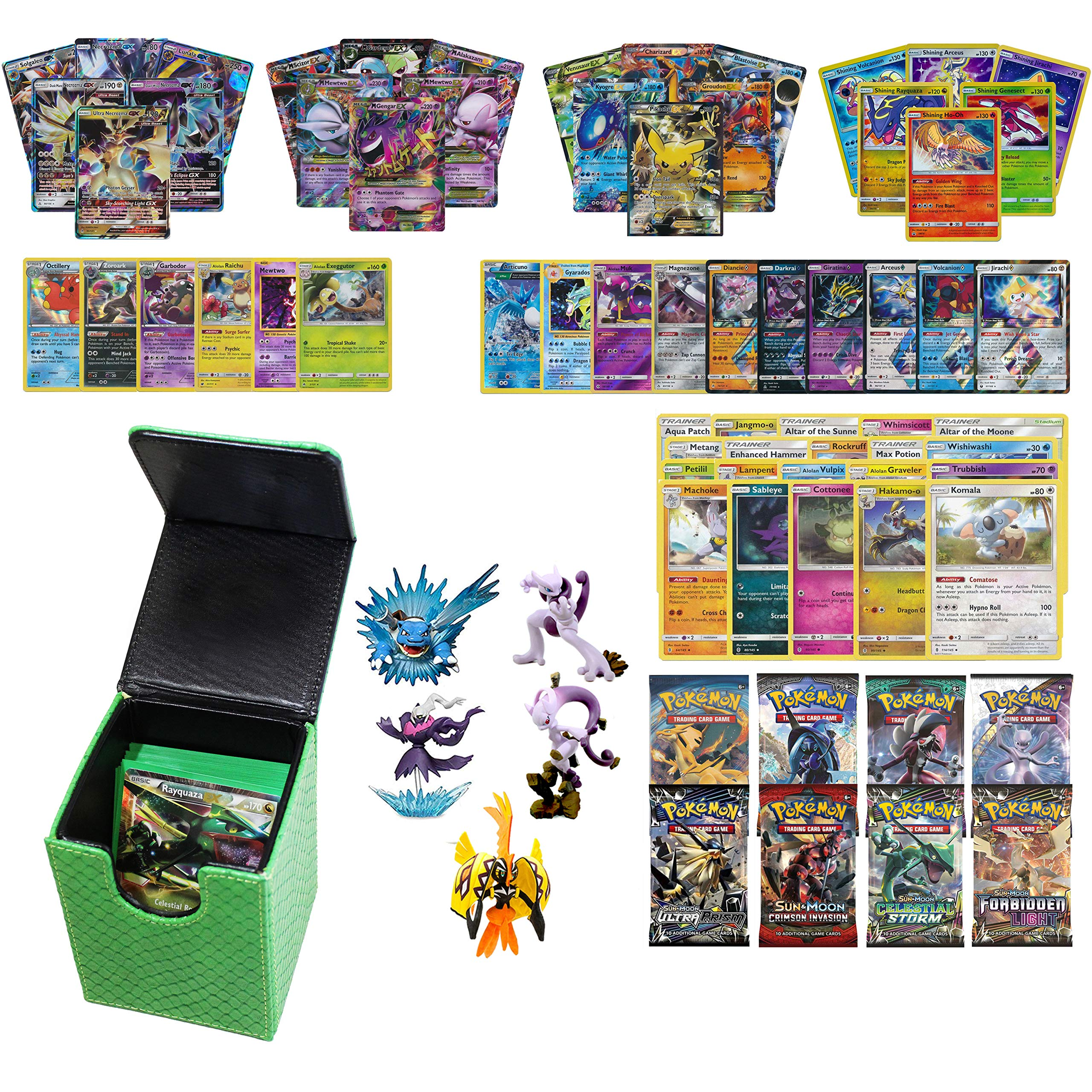 Playoly Pokemon Premium Collection 100 Cards with GX Mega EX Shining Holo 10 Rares 4 Booster Pack -Green Dragonhide Deck Box and Figure