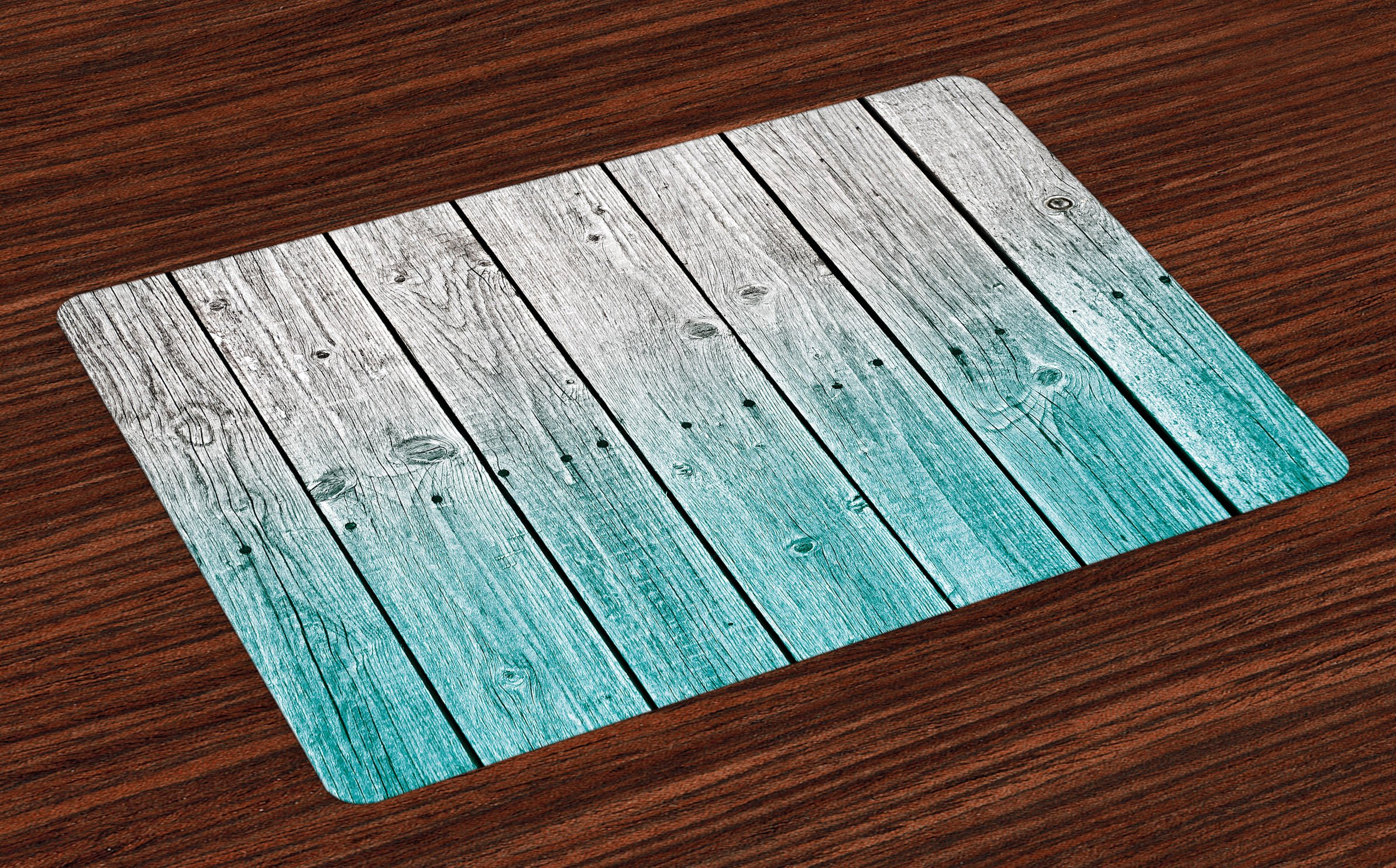 Ambesonne Rustic Place Mats Set of 4, Wood Panels Background with Digital Tones Effect Country House Art Image, Washable Fabric Placemats for Dining Room Kitchen Table Decor, Pale Blue and Grey