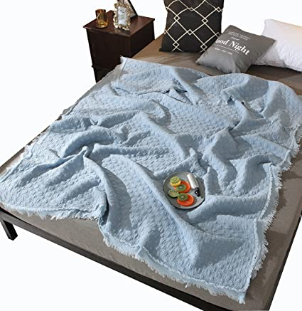 5ea3c08a2 Amazon.com  DOLDOA 100% Cotton Bedding Throw Blanket