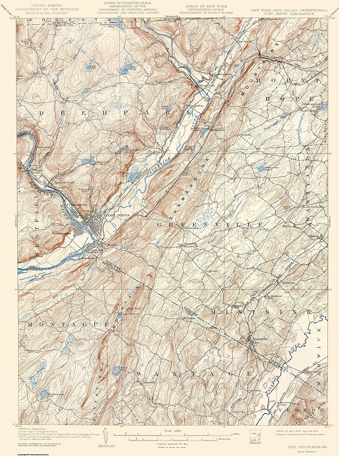 Amazon Com Topographical Map Port Jervis New York New Jersey