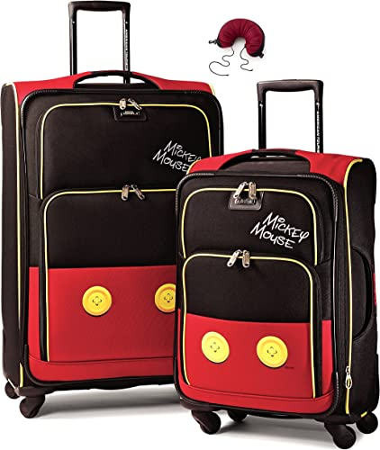 American Tourister Disney Softside Spinner 2 piece Luggage set 21 and 28 and Travel Pillow One Size, Mickey Mouse Pants