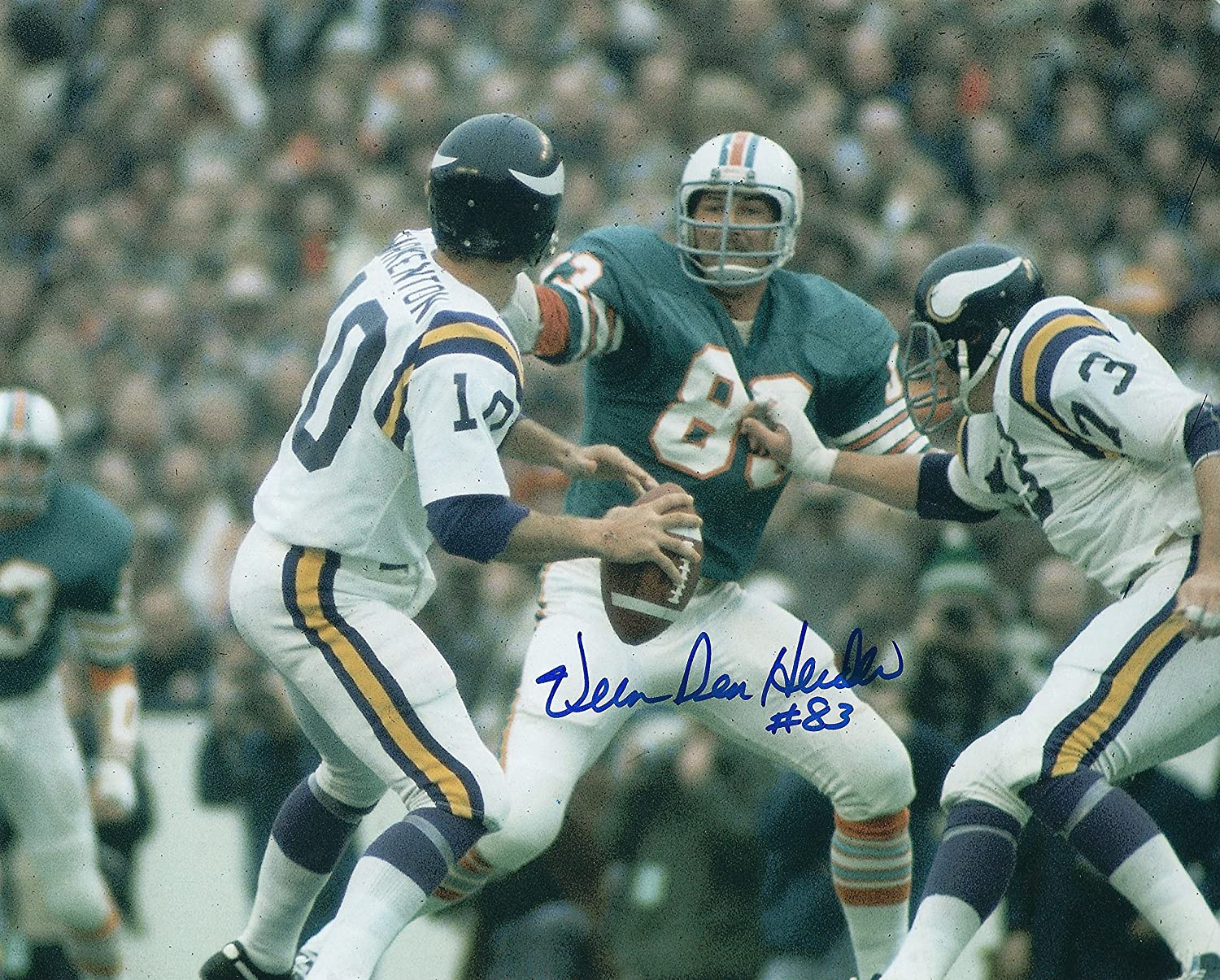 Autographed Vern Den Herder 8x10 Miami Dolphins Photo