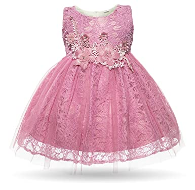 Amazon.com: CIELARKO Baby Girl Dress Infant Flower Lace Wedding ...