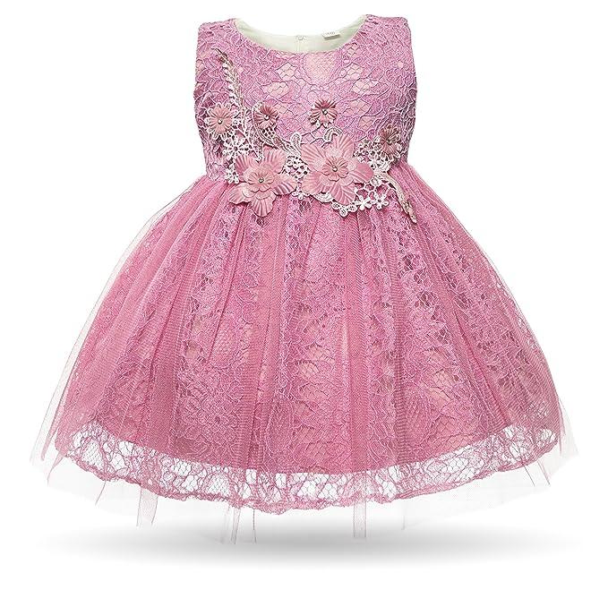 3507fd82bab Cielarko Newborn Girls Dress Wedding Party Lace Flower Tulle Sleeveless  Infant Communion Pageant Dresses  Amazon.co.uk  Clothing