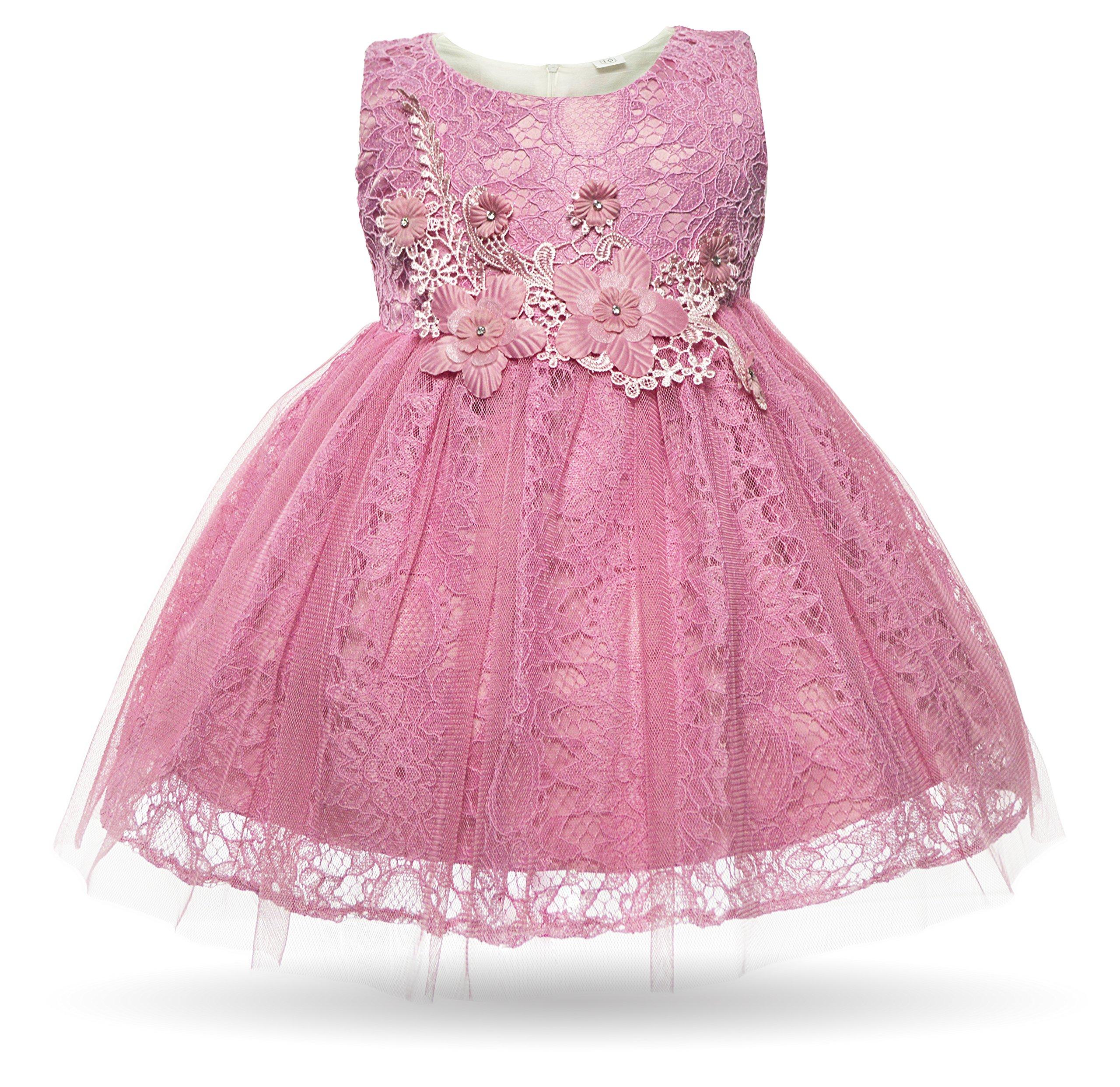 917b860c4 CIELARKO Baby Girl Dress Infant Flower Lace Wedding Party Dresses for 0-24  Months …