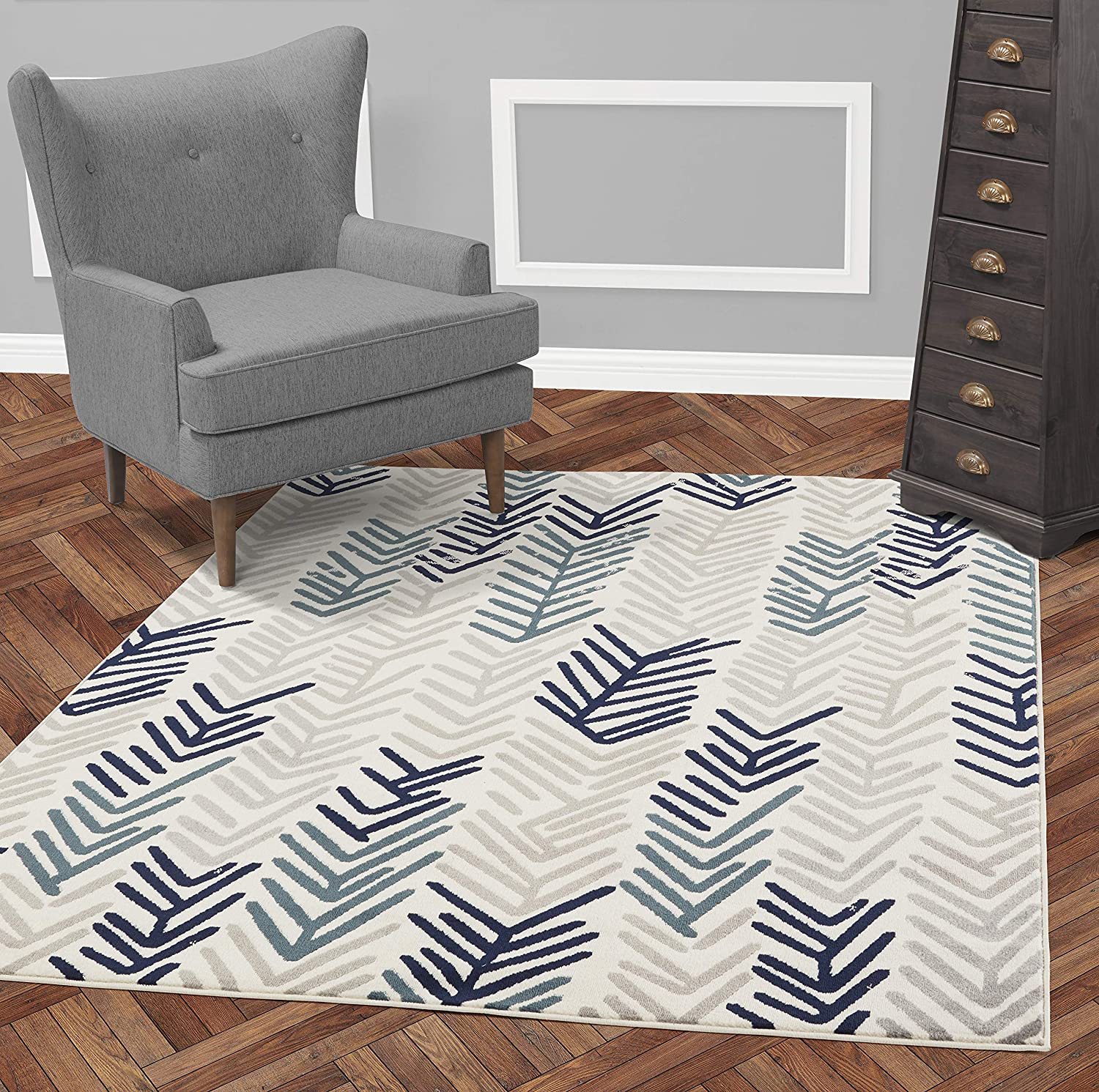 "Diagona Designs Contemporary Floral Design Modern 8' X 10' Area Rug, 94"" W x 118"" L, Ivory/Navy / Gray/Teal"