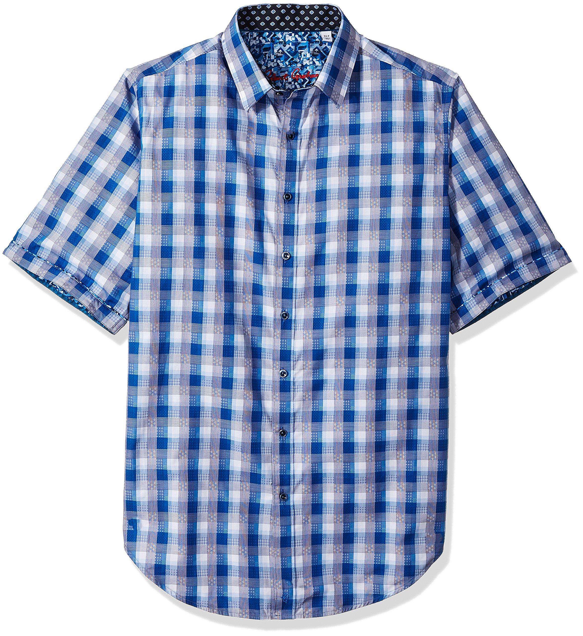 Robert Graham Men's Greenfield S/s Woven Shirt, Navy 1XL