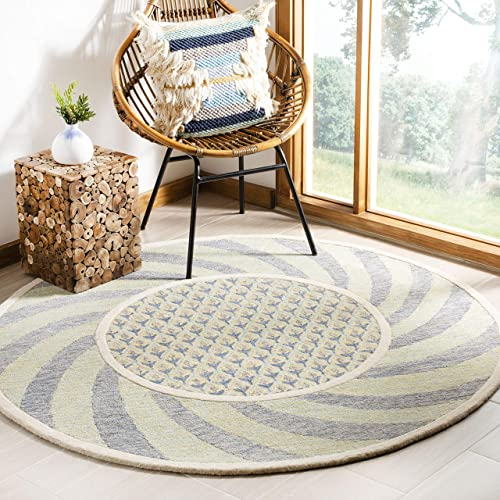 Safavieh NOV108D-6R Novelty Collection Ivory Blue and Gold Premium Wool Round Area Rug 6' Diameter