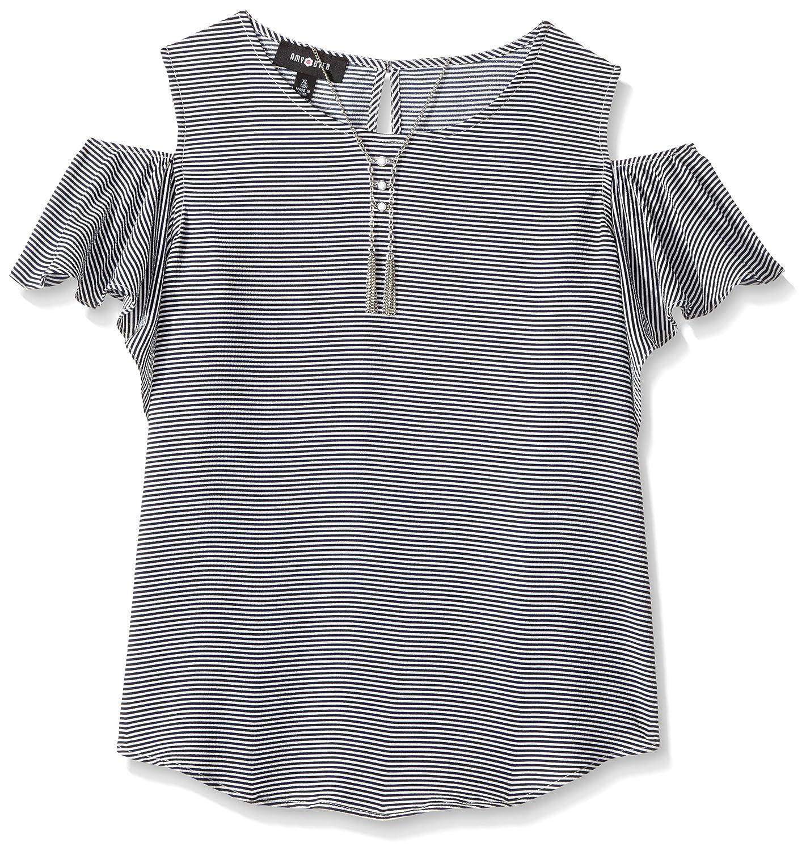 Amy Byer Big Girls' Print Stripe Flutter Sleeve Cold Shoulder