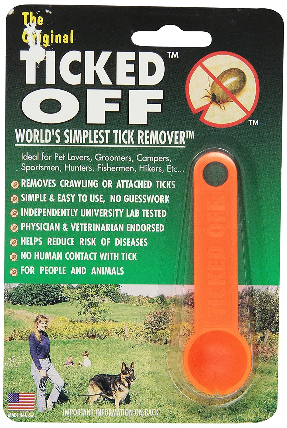 Ticked Off Orange Simple Tick Remover for Dogs Cats Puppies Kittens & Humans Orange 799573722029