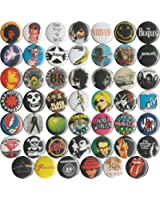 """Huge Wholesale Lot of 48 Music and Band 1"""" Pins/Buttons/Badges"""