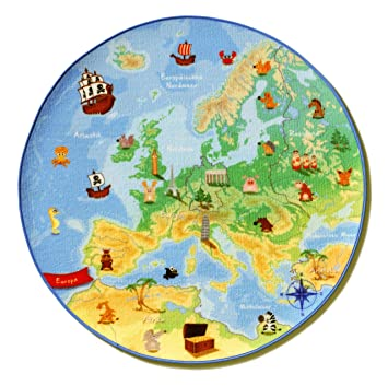Böing Carpet EU-Map Teppich - Europa, 100 cm, rund: Amazon.de ...