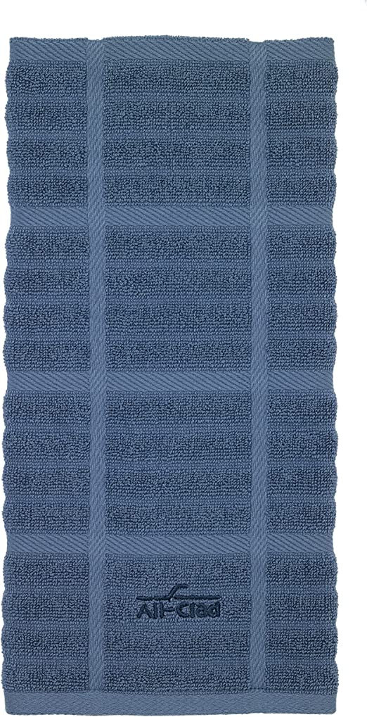 PEBBLE GRAY WINDOWPANE 100/% COTTON 17 X 30  NWT 2 Details about  /ALL CLAD  KITCHEN TOWELS