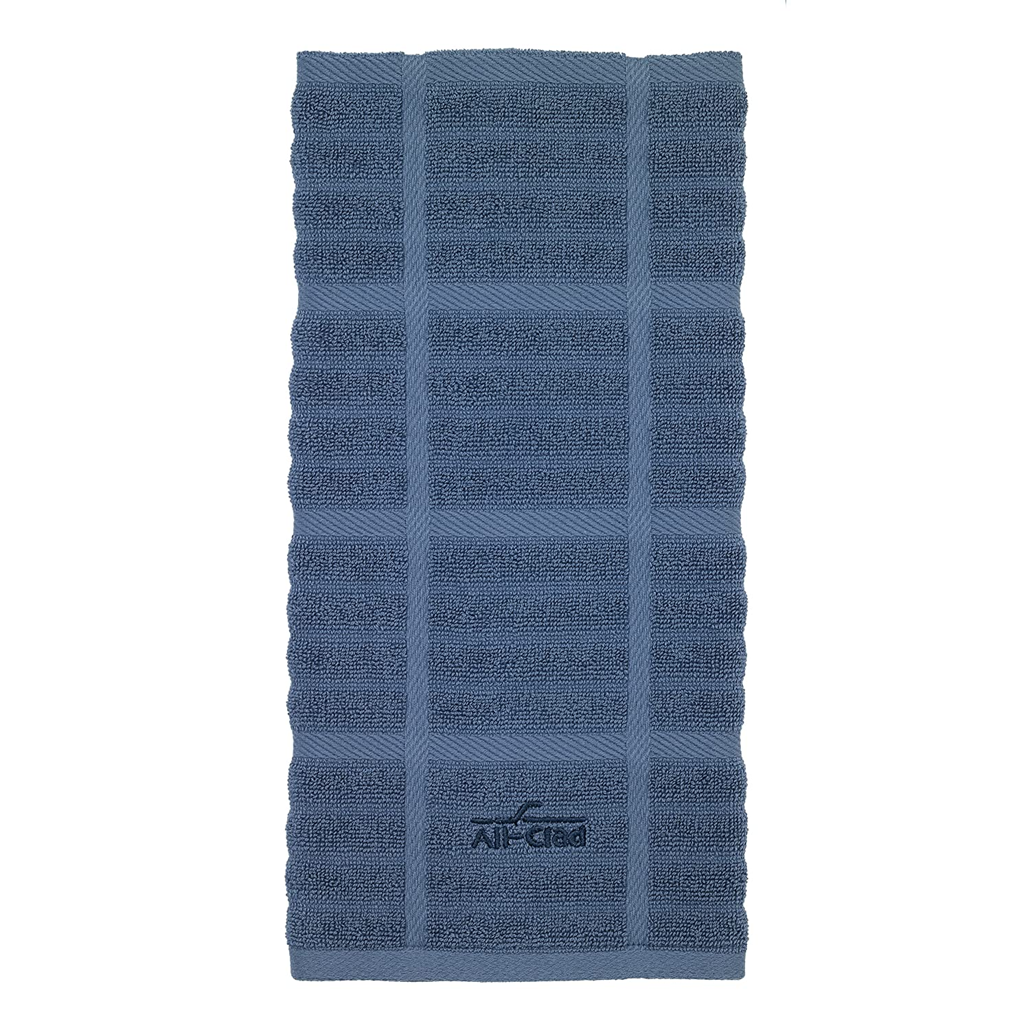 All-Clad Textiles 100-Percent Combed Terry Loop Cotton Kitchen Towel, Oversized, Highly Absorbent and Anti-Microbial, 17-inch by 30-inch, Solid, Cornflower