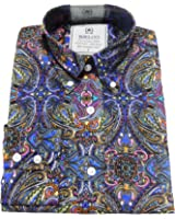 Relco Platinum Multi Paisley Cotton Long Sleeved Retro Mod Button Down Shirts