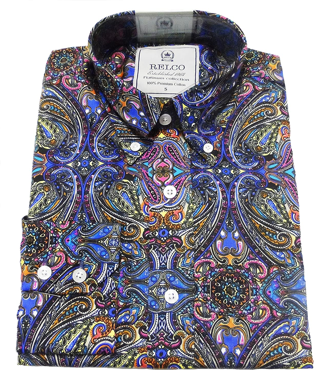 Relco Paisley Shirt Purple Long Sleeve Button Down Collar Mod Vintage Retro Mens