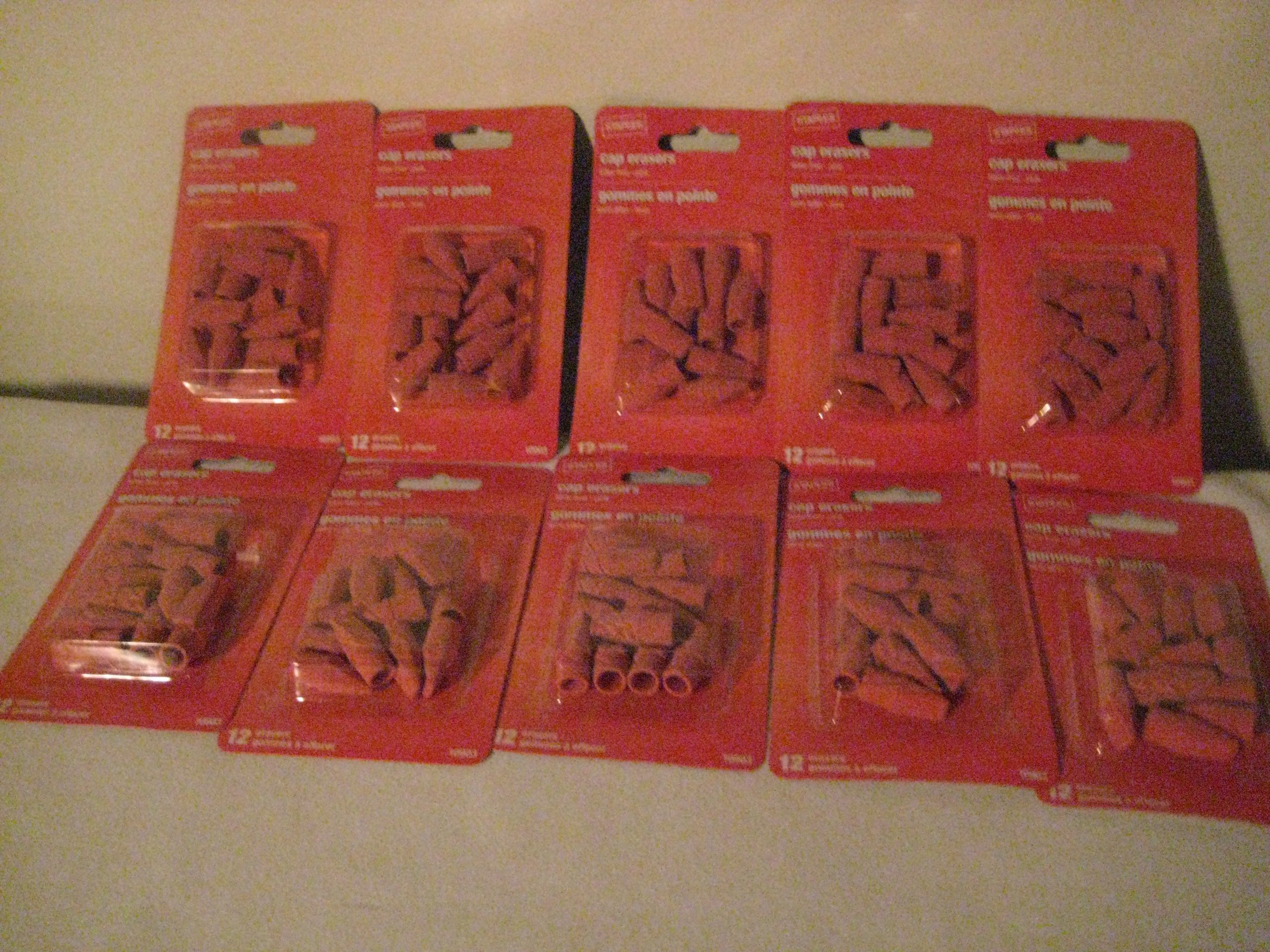Staple Arrowhead Pink Cap Erasers (10 Pack) by By: Staples (Image #1)