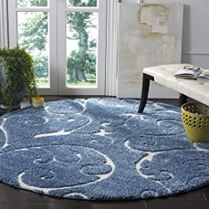 "Safavieh Florida Shag Collection SG455-6011 Scrolling Vine Graceful Swirl Textured 1.18-inch Thick Area Rug, 6' 7"" Round, Light Blue/Cream"