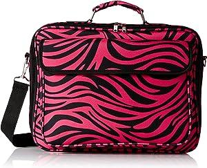 World Traveler 17 Inch Laptop Computer Case, Fuchsia Black Zebra, One Size