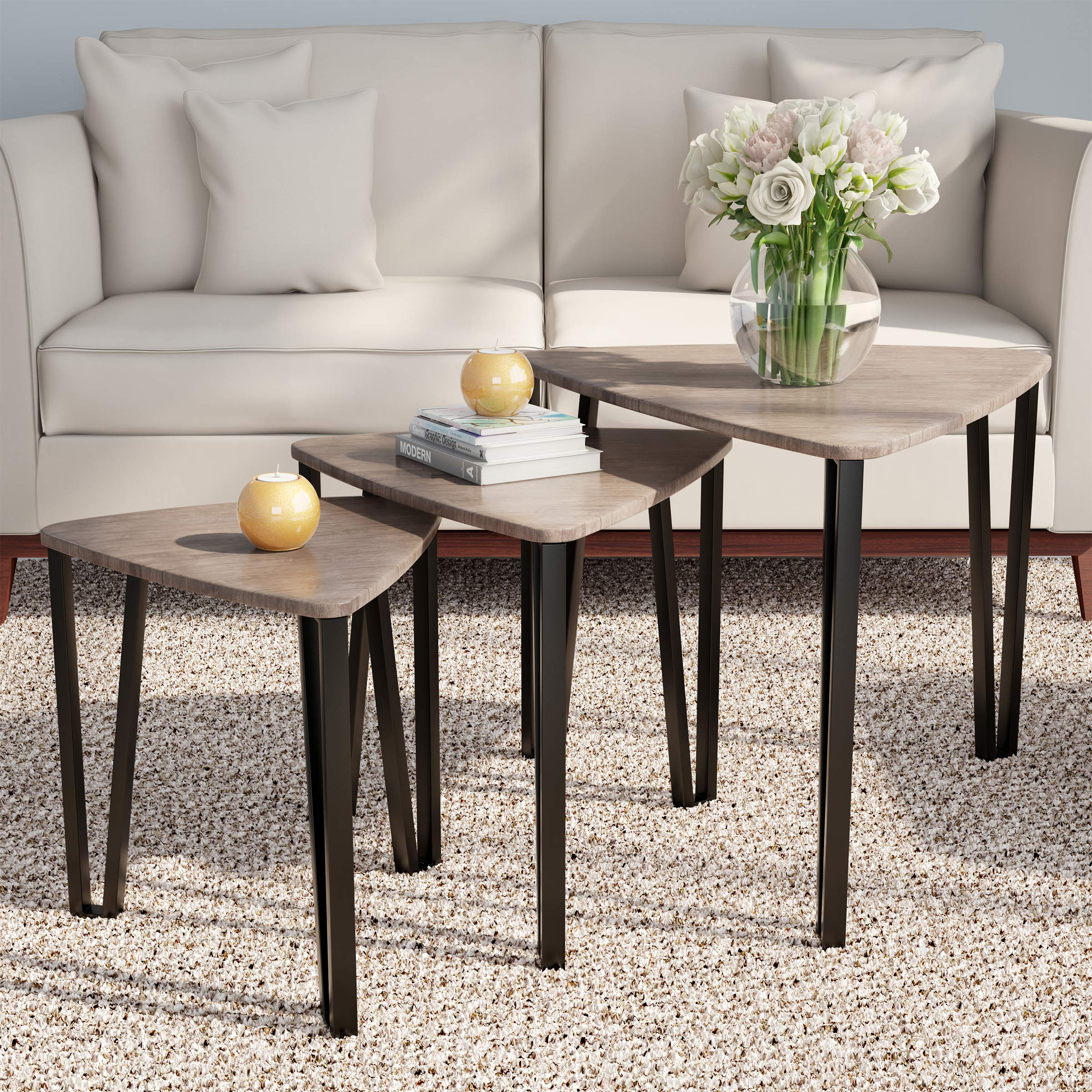 Home 80-FNT-6 Lavish Nesting Set of 3, Modern Woodgrain Look for Living Room Coffee Tables or Nightstands-Contemporary Accent Decor Furniture by HOME