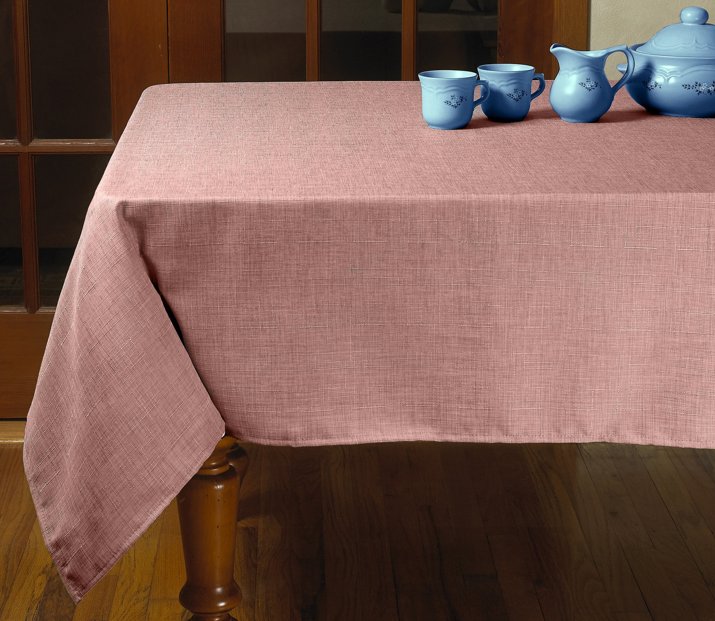 "Violet Linen Euro Vintage Design Tablecloth, 60"" x 95"", Cranberry - The tablecloths has the perfect combination of Size, detailing, and color, allowing you to choose the best tablecloth for every occasion They are manufactured from super hard wearing 100Percent polyester material, with a seamless construction that won't easily fray after long term use Update your home with this attractive tablecloth, that will brighten up your home, and will surely add a beautiful touch to your table decor - tablecloths, kitchen-dining-room-table-linens, kitchen-dining-room - A13DQ0IB7CL -"