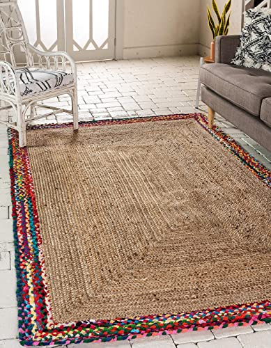 Unique Loom Braided Jute Collection Hand Woven Natural Fibers Natural/Rainbow Area Rug 5' 0 x 8' 0