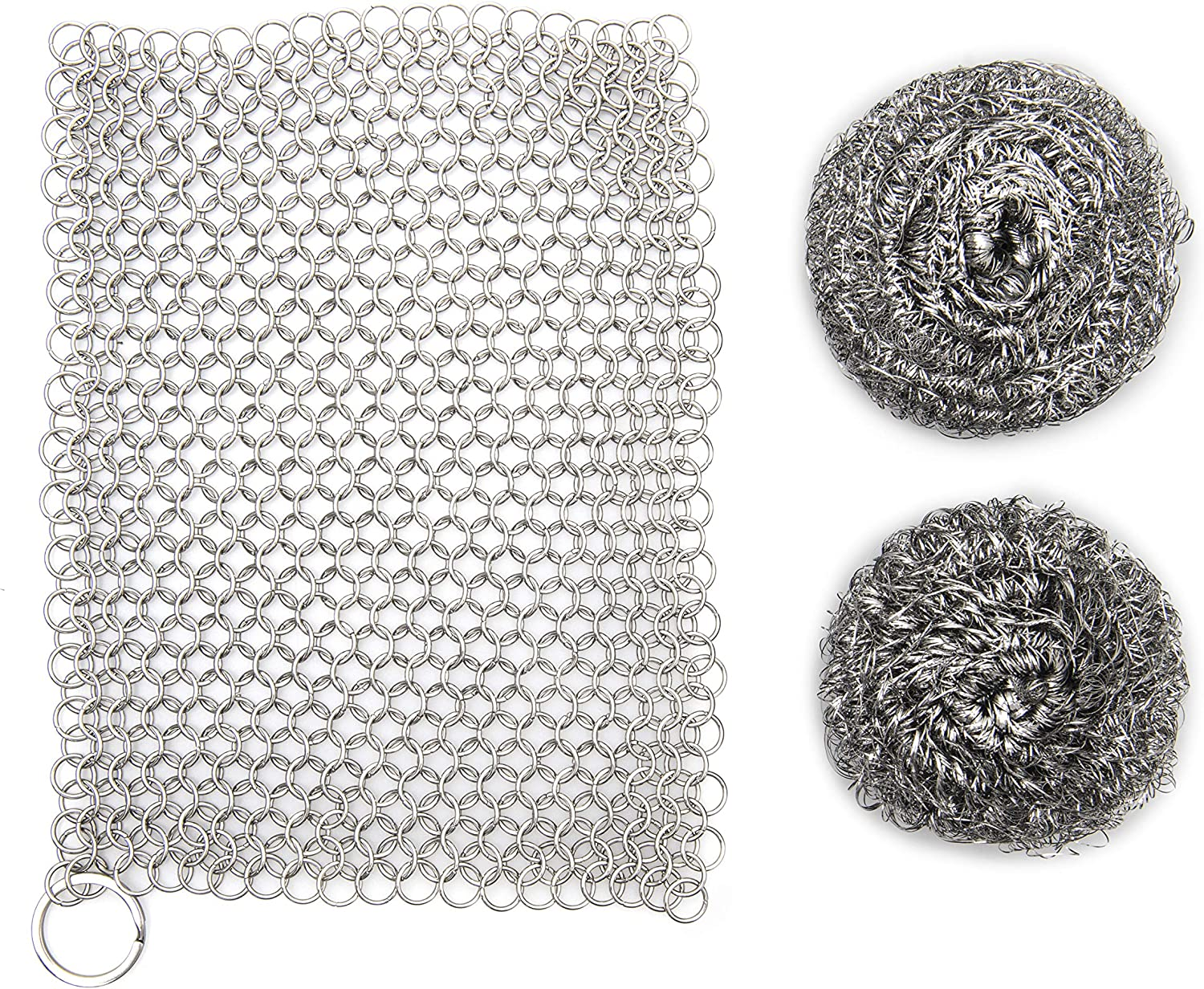 """SILVERIO Cast Iron Skillet Cleaner - Heavy Duty Stainless Steel 7"""" x 7"""" Chainmail Scrubber - Cleans Pre-Seasoned Pots, Pans, Dutch Ovens, Griddles - Complete with 2 Scouring Sponges: Health & Personal Care"""