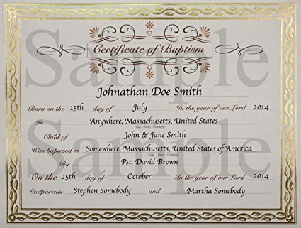 Baptism Certificate | Amazon Com Customized Baptism Certificate With Gold Foil Leafing