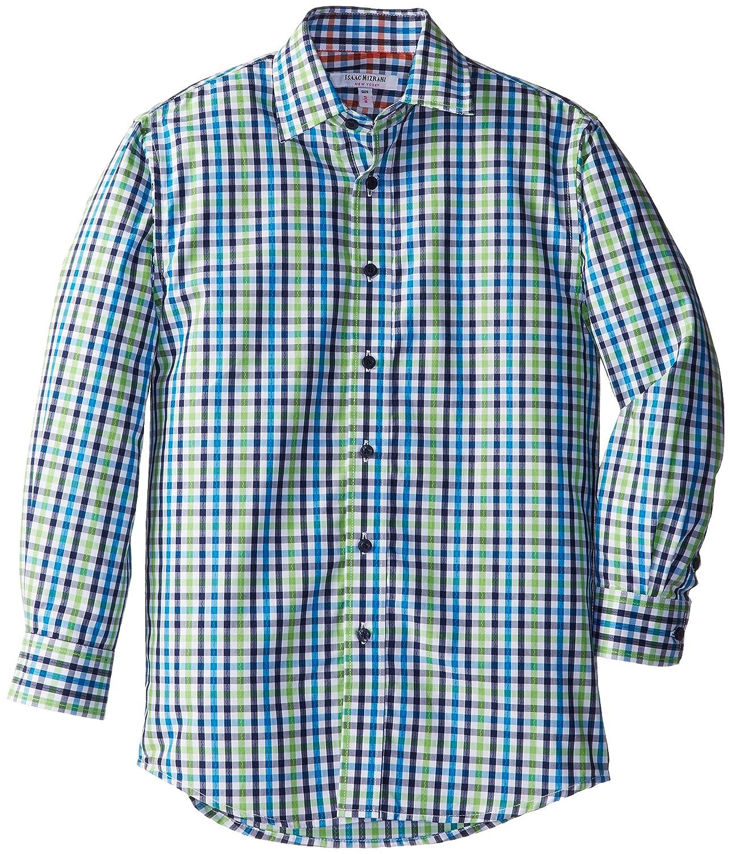 Isaac Mizrahi Big Boys Zigzag Plaid Shirt Green//Navy Small//8 Isaac Mizrahi Boys 8-20