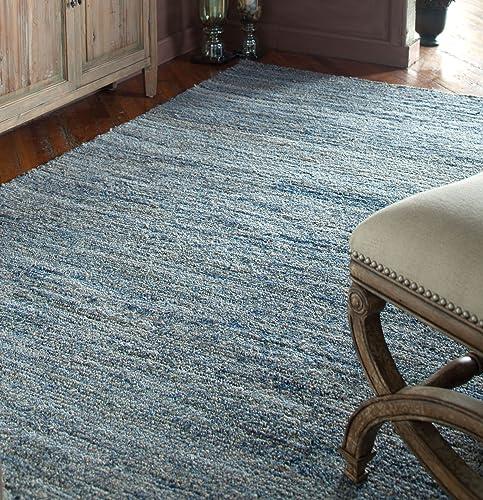 Intelligent Design Indigo Dark Blue Gray Denim Weave Rug | Soft Wool 9 x 12