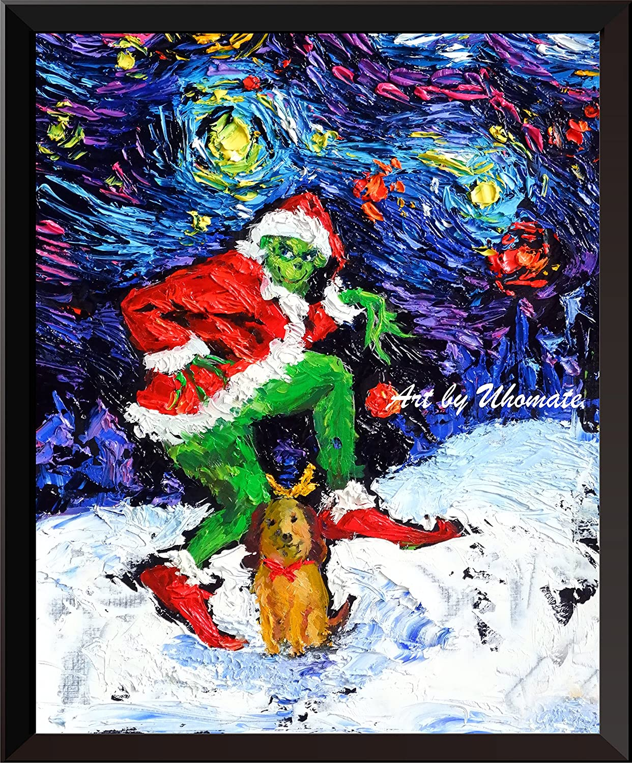 Uhomate The Grinch Christmas Ornaments Posters Vincent Van Gogh Starry Night Posters Home Canvas Wall Art Print Anniversary Gifts Baby Gift Nursery